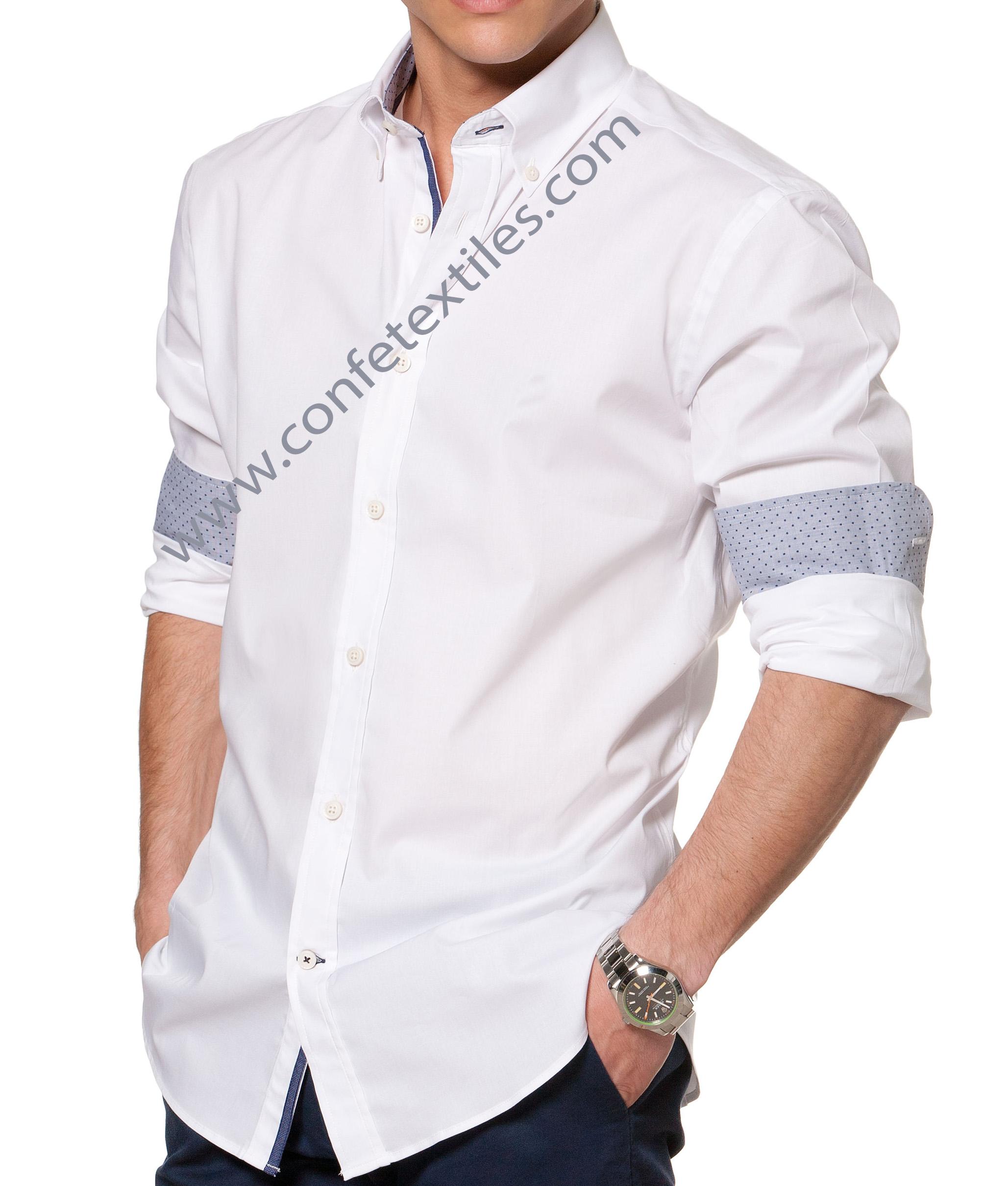 camisa blanco 100%algodon con aplicacion