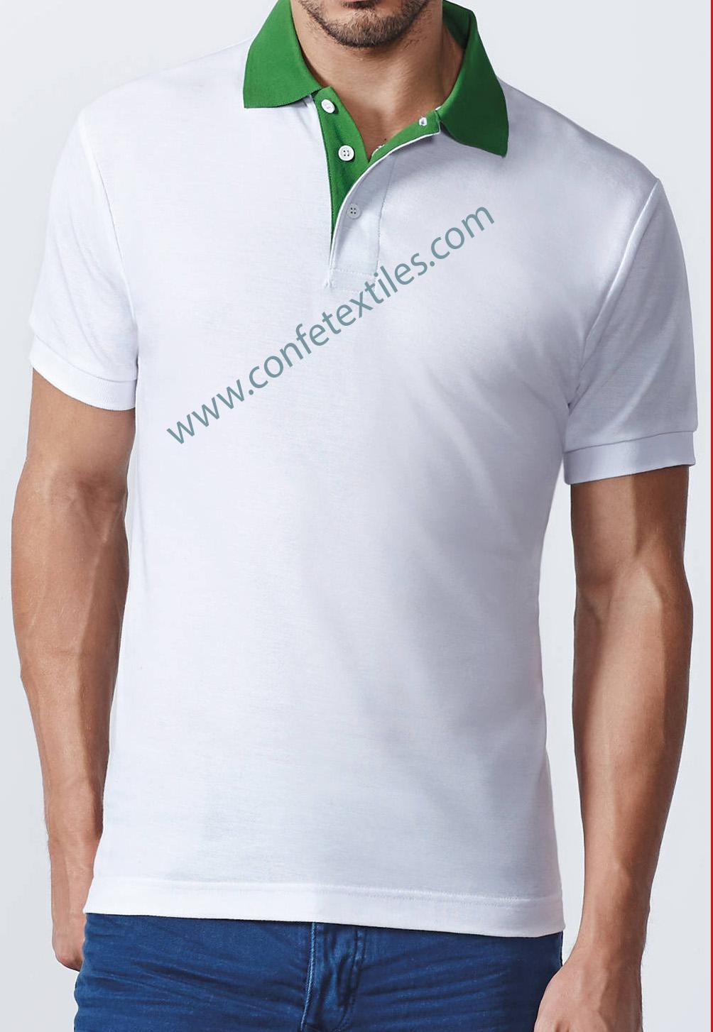 polo camisero combinacion blanco con verde
